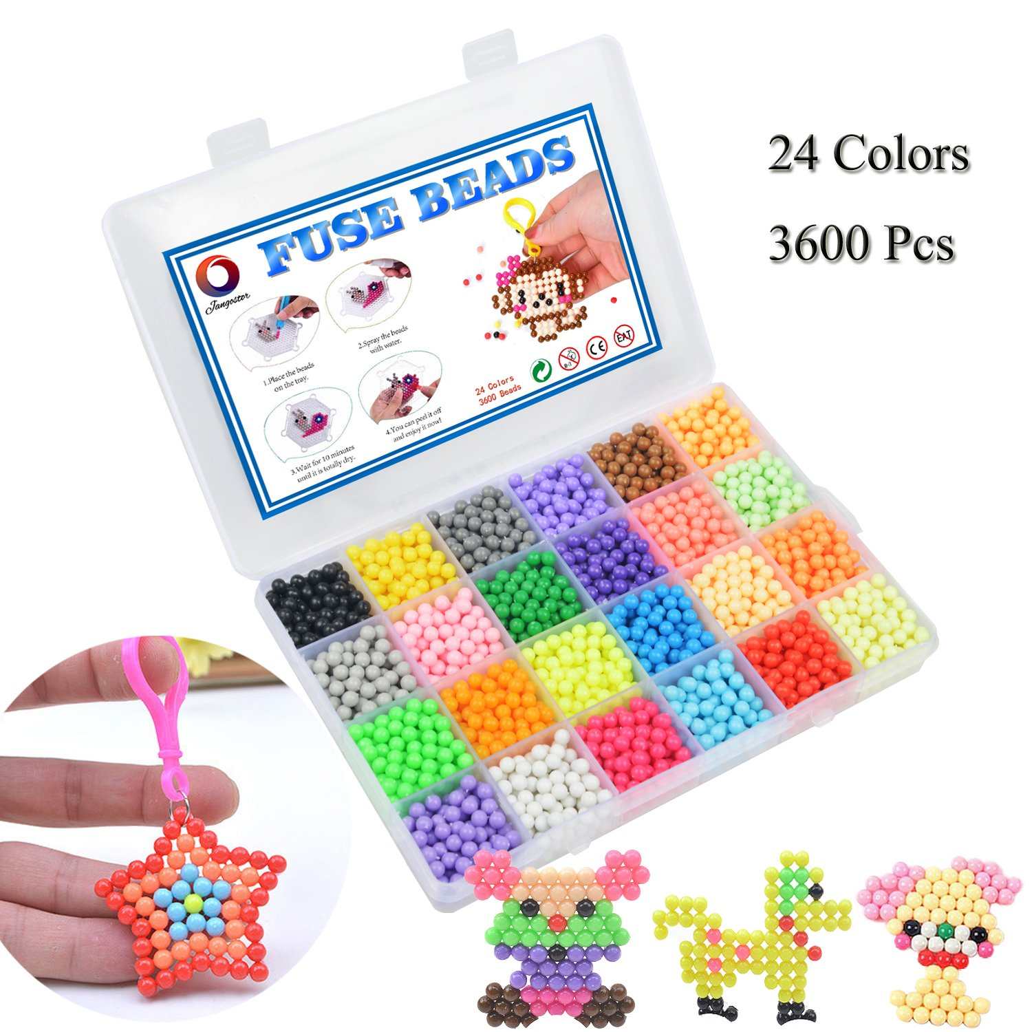 Jangostor Water Fuse Beads Kit 3600 Beads 24 Colors Mega Bead Refill Beads Educational Toys for Kids Beginners Activity Pack