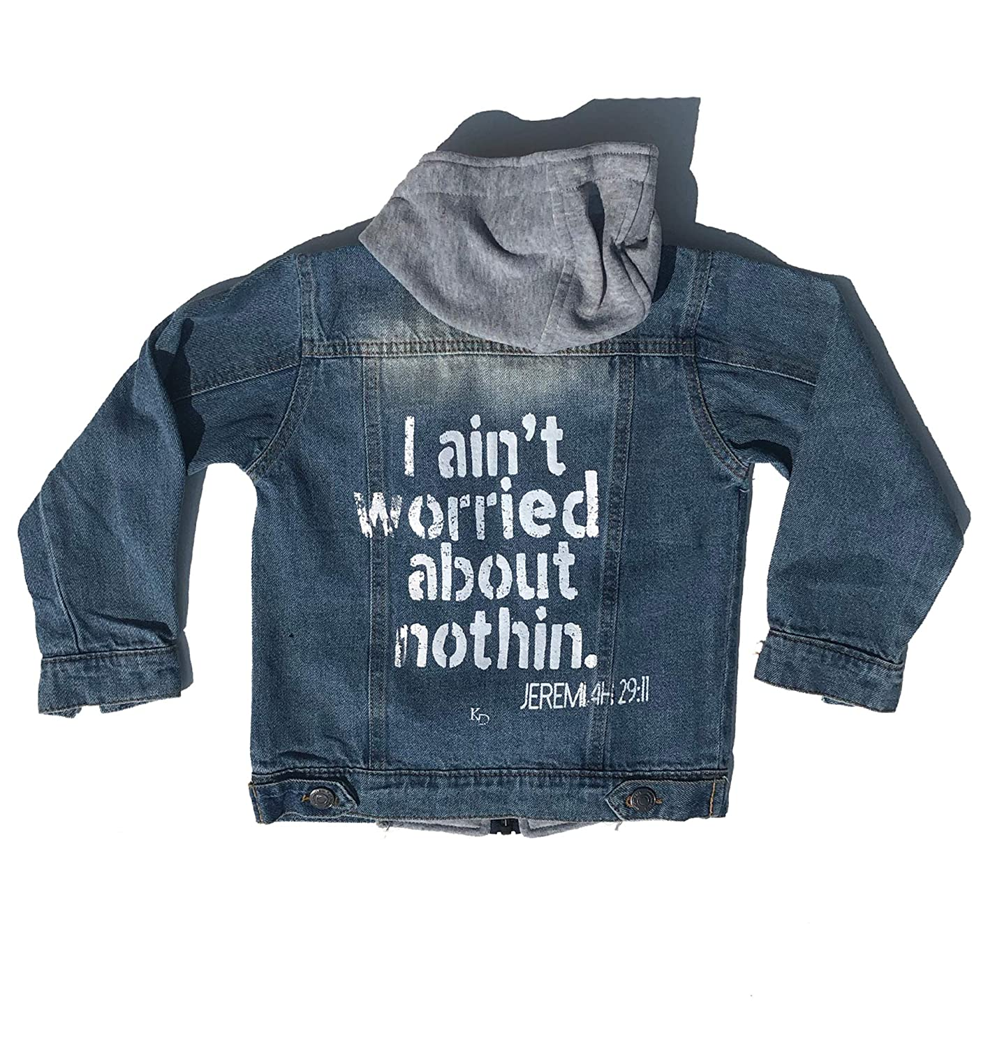 and The ENcore Screen Printed Unisex Kids Boys Girls Hooded Fall Zippered Denim Jacket The Original The REmix