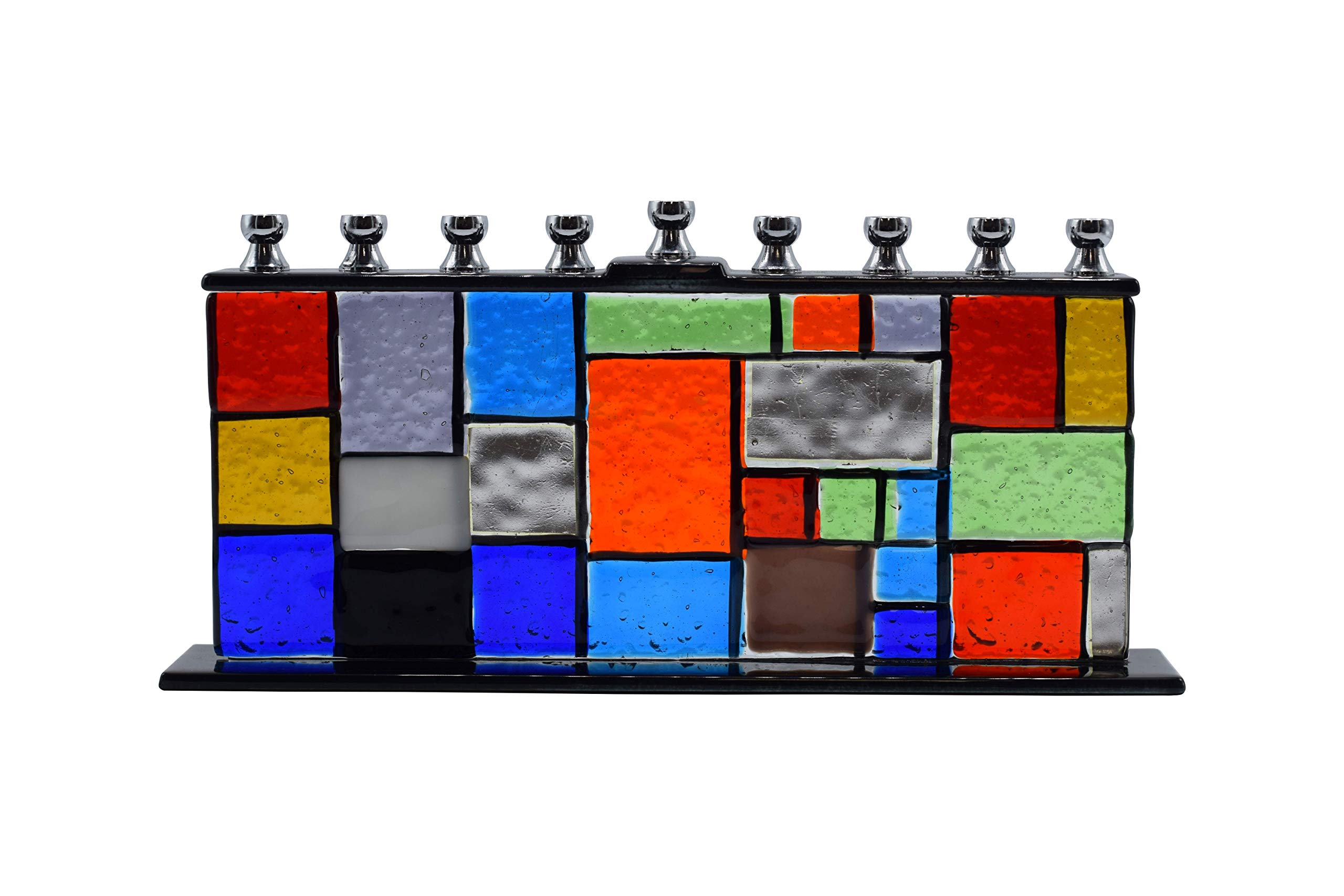 Ner Mitzvah Glass Candle Menorah - Fits All Standard Chanukah Candles - Handcrafted ''Hands of Unity'' Glass Painted Hanukkah Menorah by Ner Mitzvah