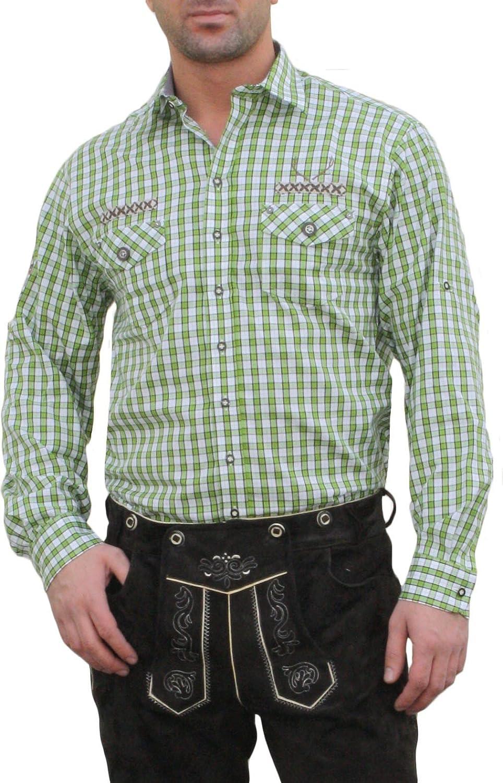 Trachtenhemd für Lederhosen mit Verzierung grün/kariert