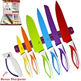 Color Knife Set - Top Stainless Steel Knife Set - Gift Set in Box by LeDish™ - Includes Chef, Bread, Slicer, Santoku, Utility, Paring Knife - PLUS Magnetic Strip and Professional Sharpener