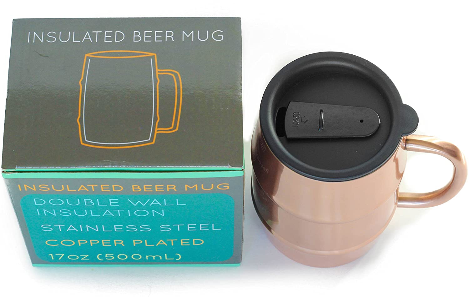 Perfect Gift for Beer Lovers Copper Plated 17oz 500mL Double Wall Stainless Steel Ice Cold to the Last Drop Insulated Beer Mug