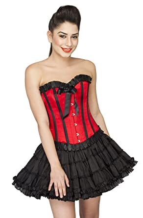 7e8ed7abe22 CorsetsNmore Red Satin Black Frill Gothic Burlesque Overbust Tissue Tutu Skirt  Corset Dress  Amazon.co.uk  Clothing