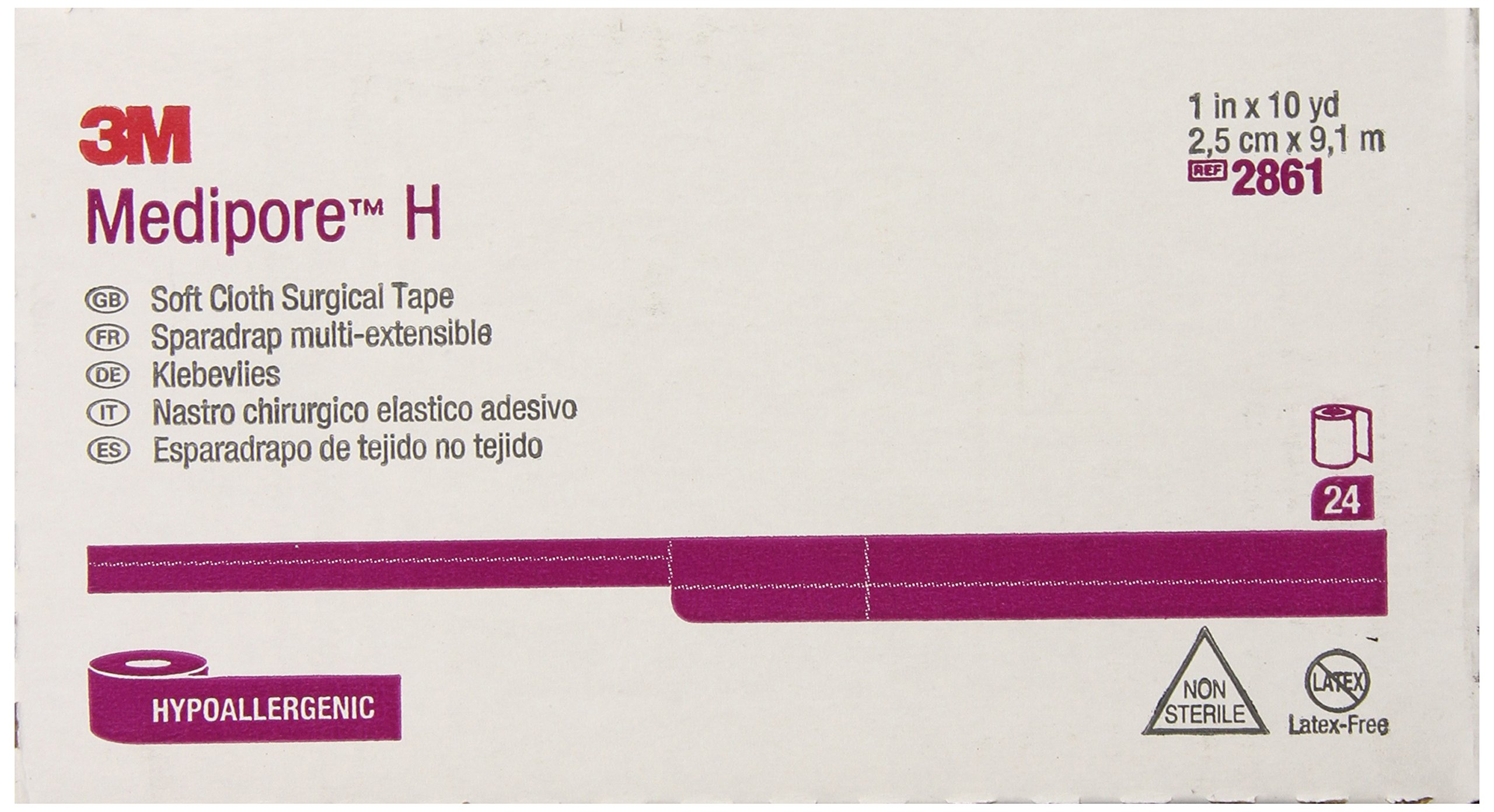 3M Medipore H Soft Cloth Tape 2861 (Pack of 24) by 3M