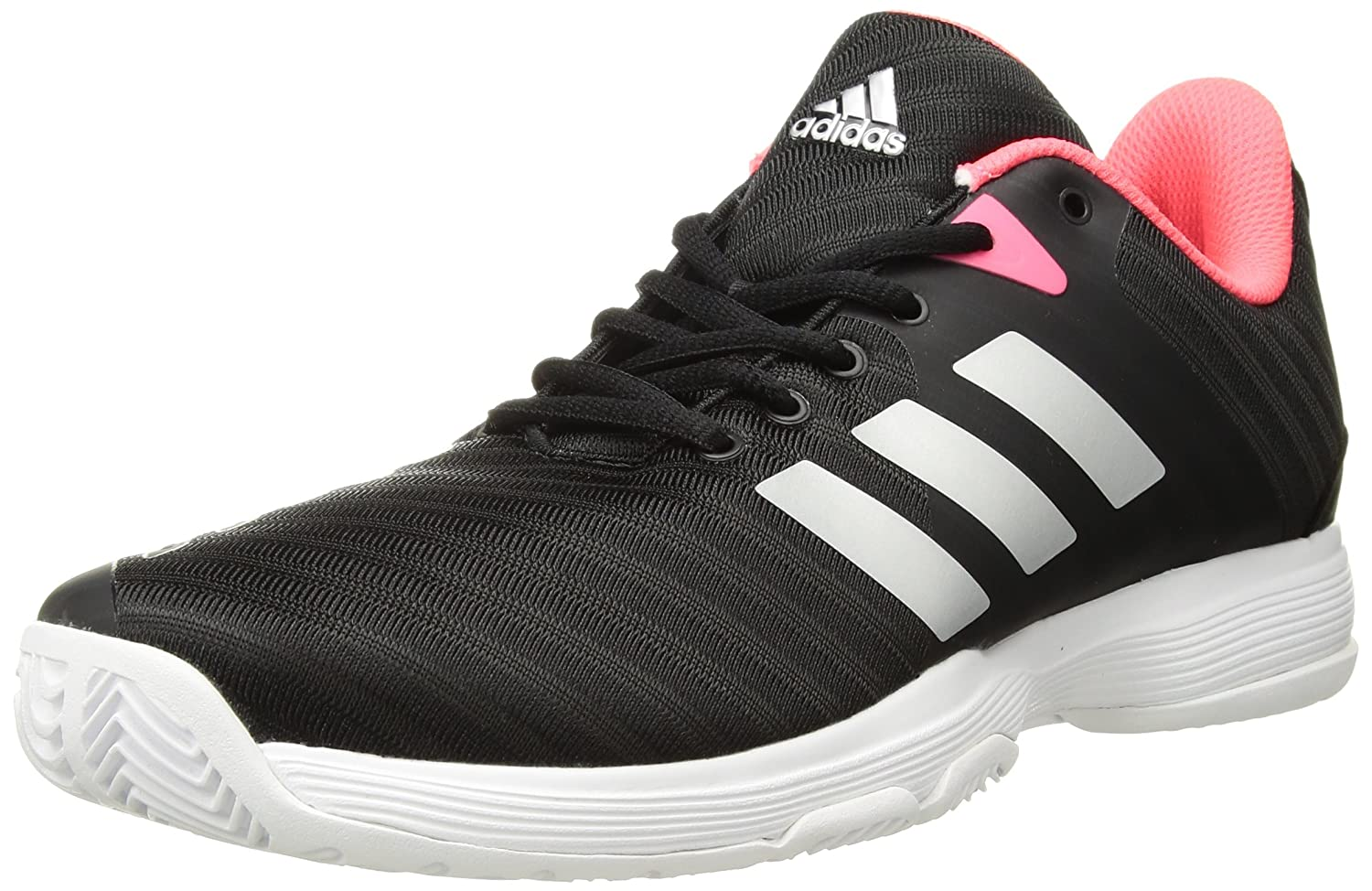 adidas Women's Barricade Court Tennis Shoes B077X4Y7J5 10 B(M) US|Black/Matte Silver/Flash Red