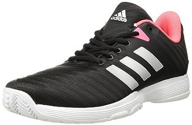 best deals on 88865 4f213 adidas Originals Women s Barricade Court Tennis Shoe, Black Matte  Silver Flash Red,