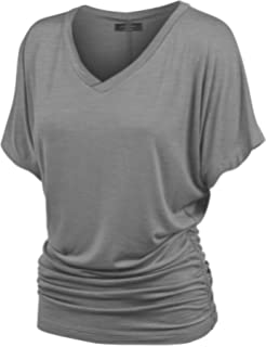 e9e4884cd94 Made By Johnny WT1037 V Neck Short Sleeve Dolman Top with Side Shirring  XXXXXL Heather Dark Grey