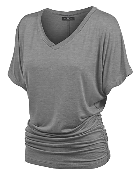 91bfdb1aefe Image Unavailable. Image not available for. Color  Made By Johnny MBJ  WT1037 V Neck Short Sleeve Dolman Top with Side Shirring XXXXXL  Heather Dark Grey