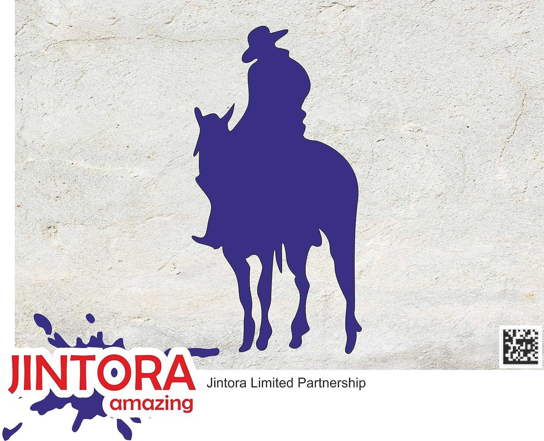 Cavaliere da Cowboy JINTORA Sticker//Adesivo Argento Auto//Finestra//Laptop//Tuning JDM//Die Cut 190x99 mm Adesive da Auto