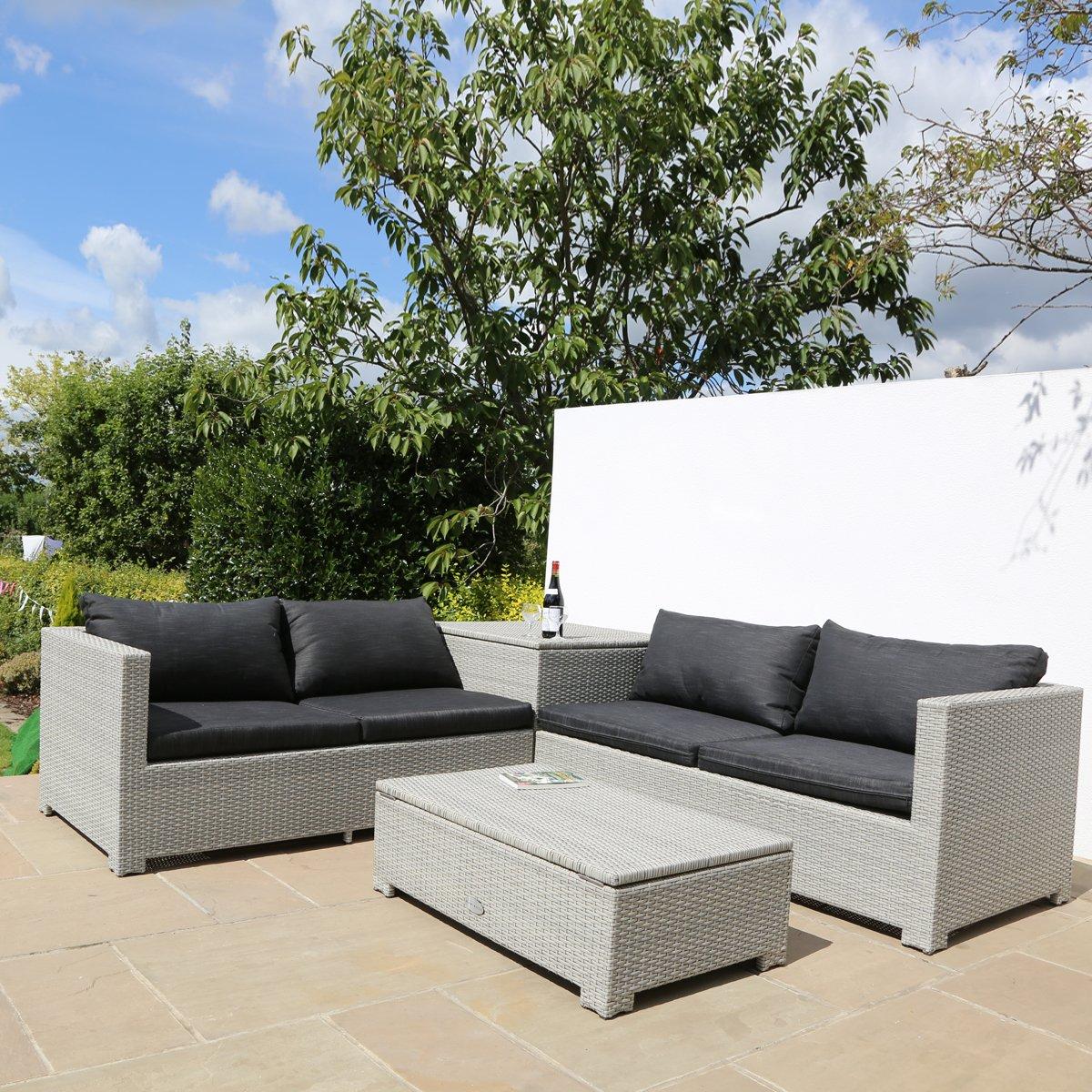 vier sitzer rattan garten sofa set mit beistelltisch und aufbewahrungsboxen g nstig. Black Bedroom Furniture Sets. Home Design Ideas