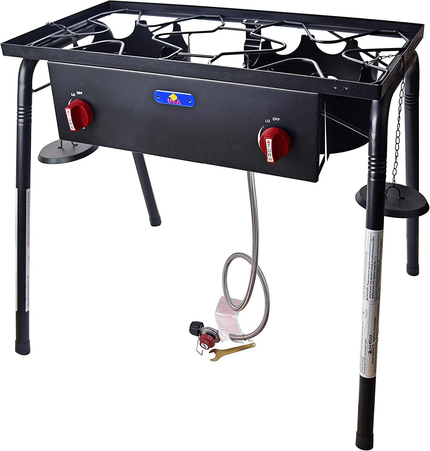 ARC, 7841 CSA Approval Stander Outdoor Burner Assembled, High Pressure Cast Iron Propane Double Burner for Backyard, Portable Gas Cooker, Camping Cooking Stove