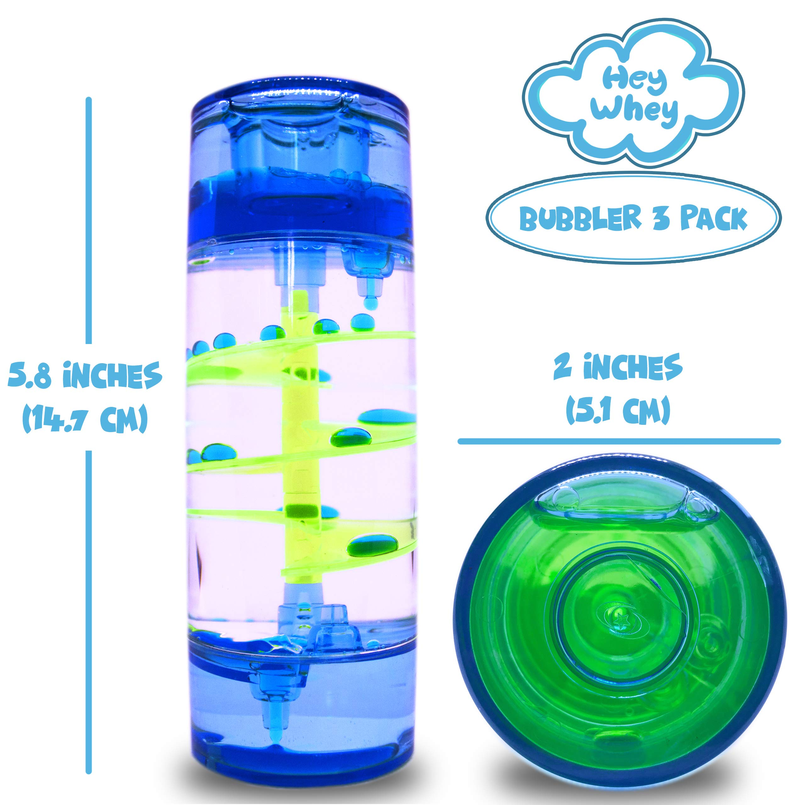 HeyWhey- Liquid Motion Bubbler Timer, 3-Pack Bundle Great for Gifts Parties Holidays, Calm and Relaxing Novelty Desk Toy, Sensory and Fidget Toys for Anxiety Autism ADHD Stress Relief Kids and Adults, by HeyWhey Toys (Image #3)