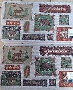 (2) Rug Deer, Bear, Canoe, Fish, Cabin,Forest 18 x 30 Inch Rug