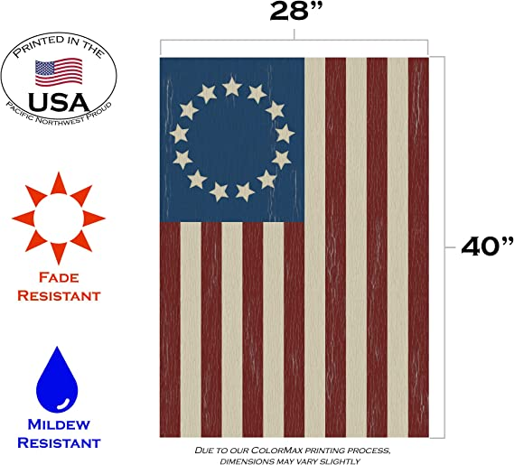 Amazon.com: Toland Home Garden 101350 Betsy Ross Bandera de ...