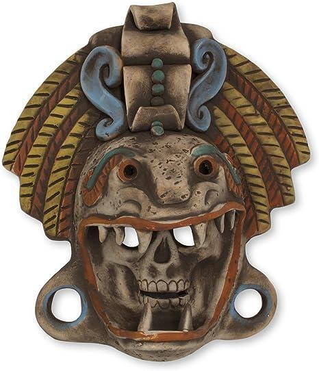 Novica Decorative Archaeological Large Ceramic Mask Earthtone Quetzalcoatl Warrior Home Kitchen
