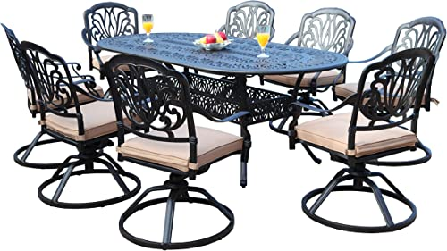 GrandPatioFurniture.com CBM Patio Elisabeth Collection Cast Aluminum 9 Piece Dining Set