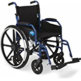 "Medline Hybrid Wheelchair + Transport Chair with Removable Desk-Length Arms and Swing-Away Leg Rests, 16"" Seat"
