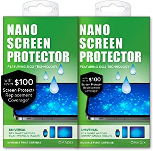 QMADIX $100 Replacement Guarantee-2 pack -Invisible Nano Liquid Glass Screen Protector [Scratch Resistant] for all iPhone, iPad, Apple Watch, Samsung phones - Extreme Liquid Glass Protection