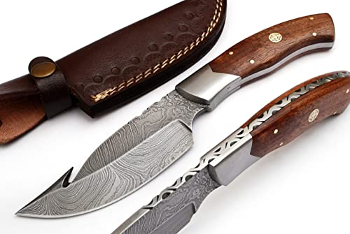 Radny RA-9023-W Custom Made Damascus Steel Hunting Gut Hook Knife Rose Wood Handle with Real Leather Sheath.