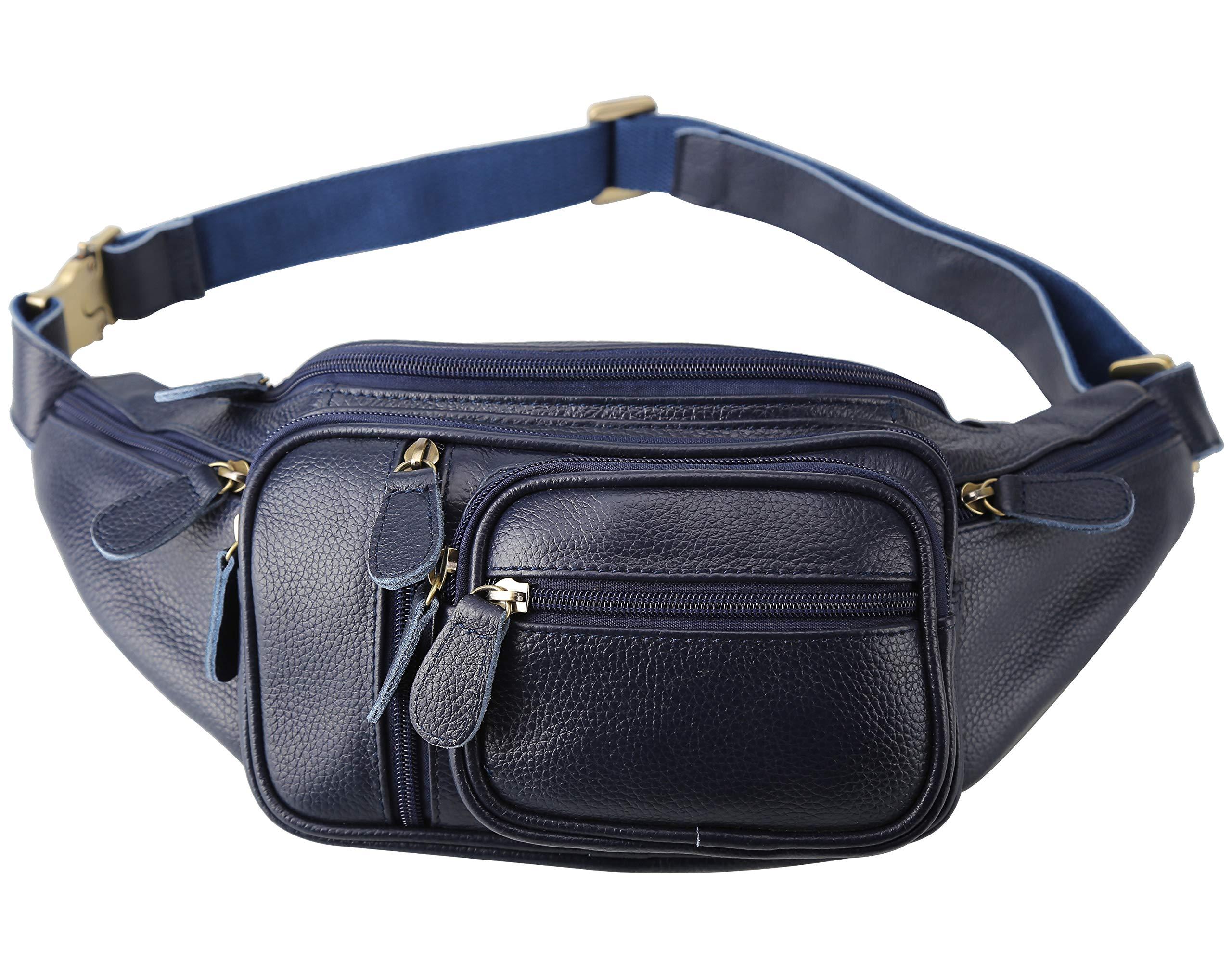Polare Men's Natural Leather Fanny Pack Waist Bag Black Large (Blue)