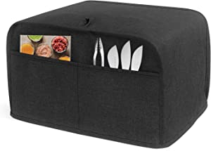 Luxja 4 Slice Toaster Cover (12.5 x 10 x 8 inches), Toaster Cover with 2 Pockets (Fits for Most Major 4 Slice Toasters), Black