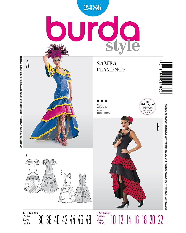 Patrón de costura burda 2486 Flamenco-vestido (y Samba-vestido ...
