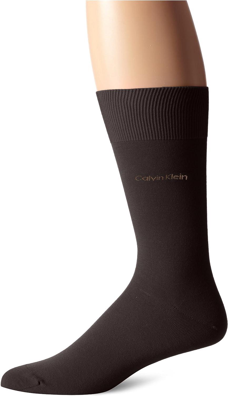 Calvin Klein Men's Giza Egyptian Cotton Flat Knit Crew Dress Socks