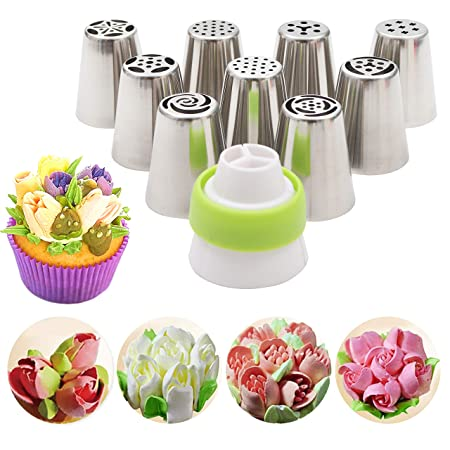 Kurtzy Stainless Steel Icing Nozzles With 1 Coupler For Decorating Frosting Cupcake Pastries Desserts Tarts Pie Set of 9 Assorted Baking Tools & Accessories at amazon