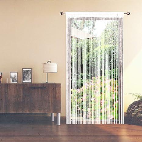 AIZESI Cortina Retro Lisa con Flecos para Puerta Protectora contra Insectos, Moscas, para Divisor Puertas o Ventanas, Cortina Panel 90 x 200 cm, mosquitero: Amazon.es: Hogar