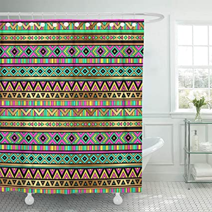Emvency Shower Curtains 72 X Inches Blue Neon Multicolor Tribal Navajo Aztec Abstract Geometric Ethnic
