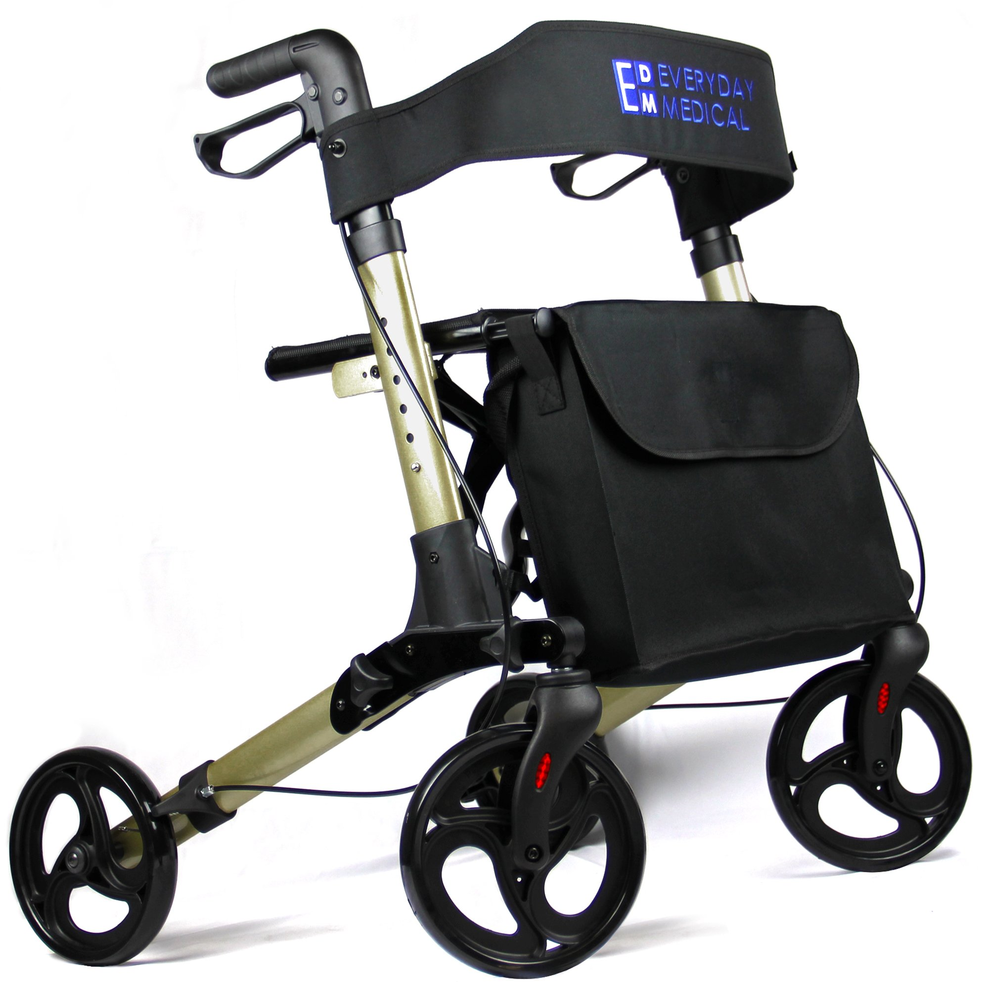 Everyday Medical Heavy Duty Rollator Walker With Seat and Basket, 4-Wheel Rollator, Folding Mobility Walker For the Elderly, Disabled and Injured