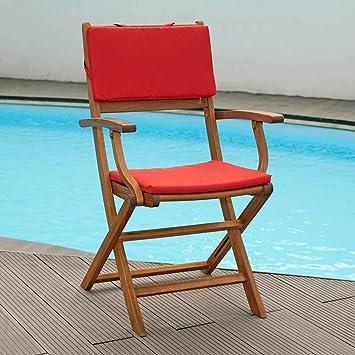 Set cojines para sillas plegables en rojo funda con ...