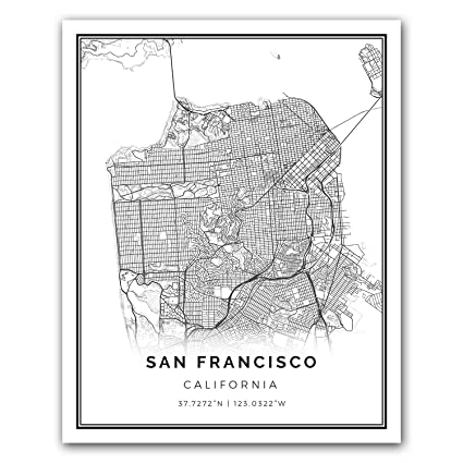 photo relating to San Francisco Maps Printable identified as : San Francisco map poster print Innovative black