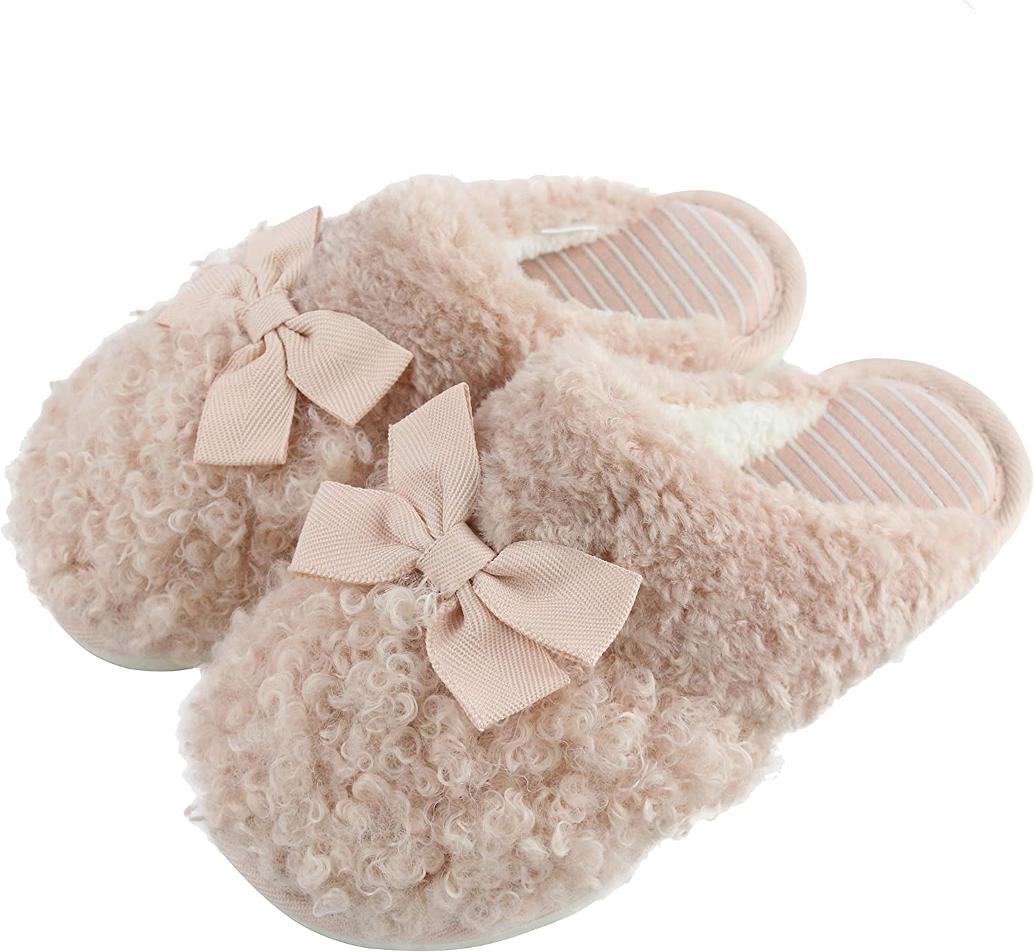 Komyufa Home Slippers for Girls Winter Womens Home Slippers Cute Slippers Bow Decor Fuzzy Slippers for Couples Indoor House Shoes