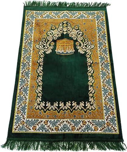 Prayer Rug Islamic Made in Turkey with Fine Velvet Green