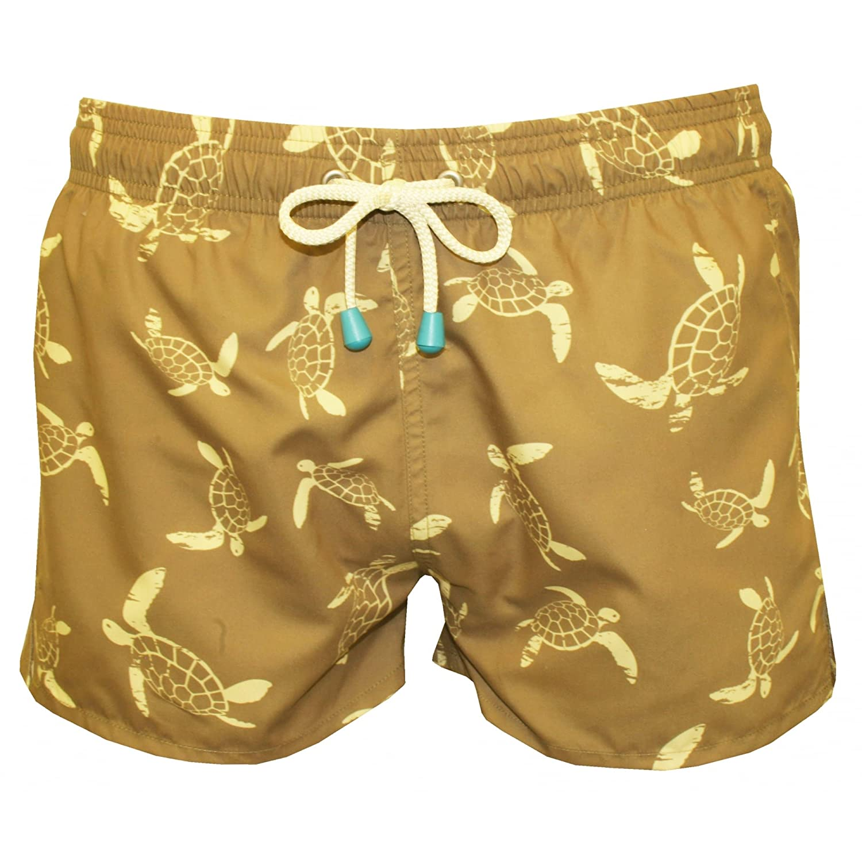 40d5cee3ce Oiler & Boiler Men's Chevy Short Turtle Print Swim Shorts, Khaki/Lemon  X-Large Khaki/Lemon   Amazon.com
