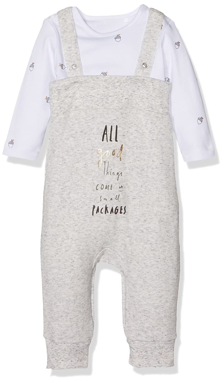 Small Packages Bodysuit and Dungaree Set Grey Marl Mothercare MA535