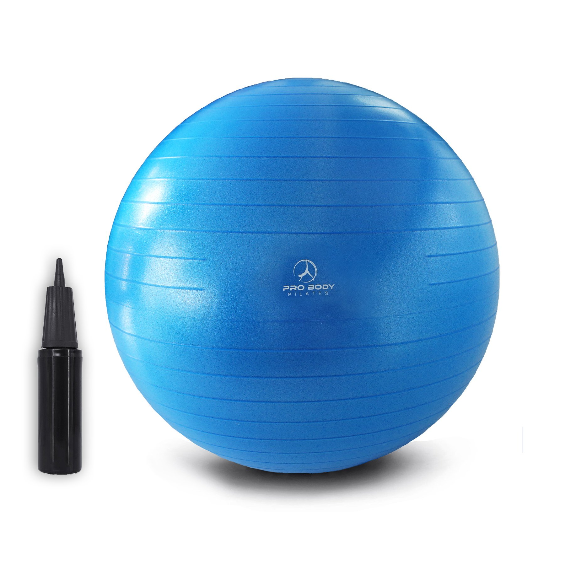 Exercise Ball - Professional Grade Anti-Burst Fitness, Balance Ball for Pilates, Yoga, Birthing, Stability Gym Workout Training and Physical Therapy (Blue, 55cm) by ProBody Pilates (Image #1)