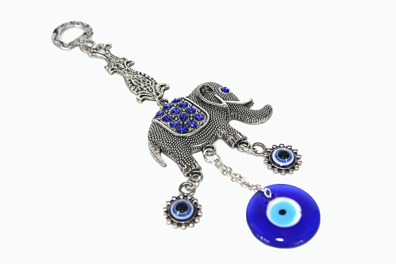 Elephant Blue Evil Eye Wall Hanging Amulet For Protection Decor