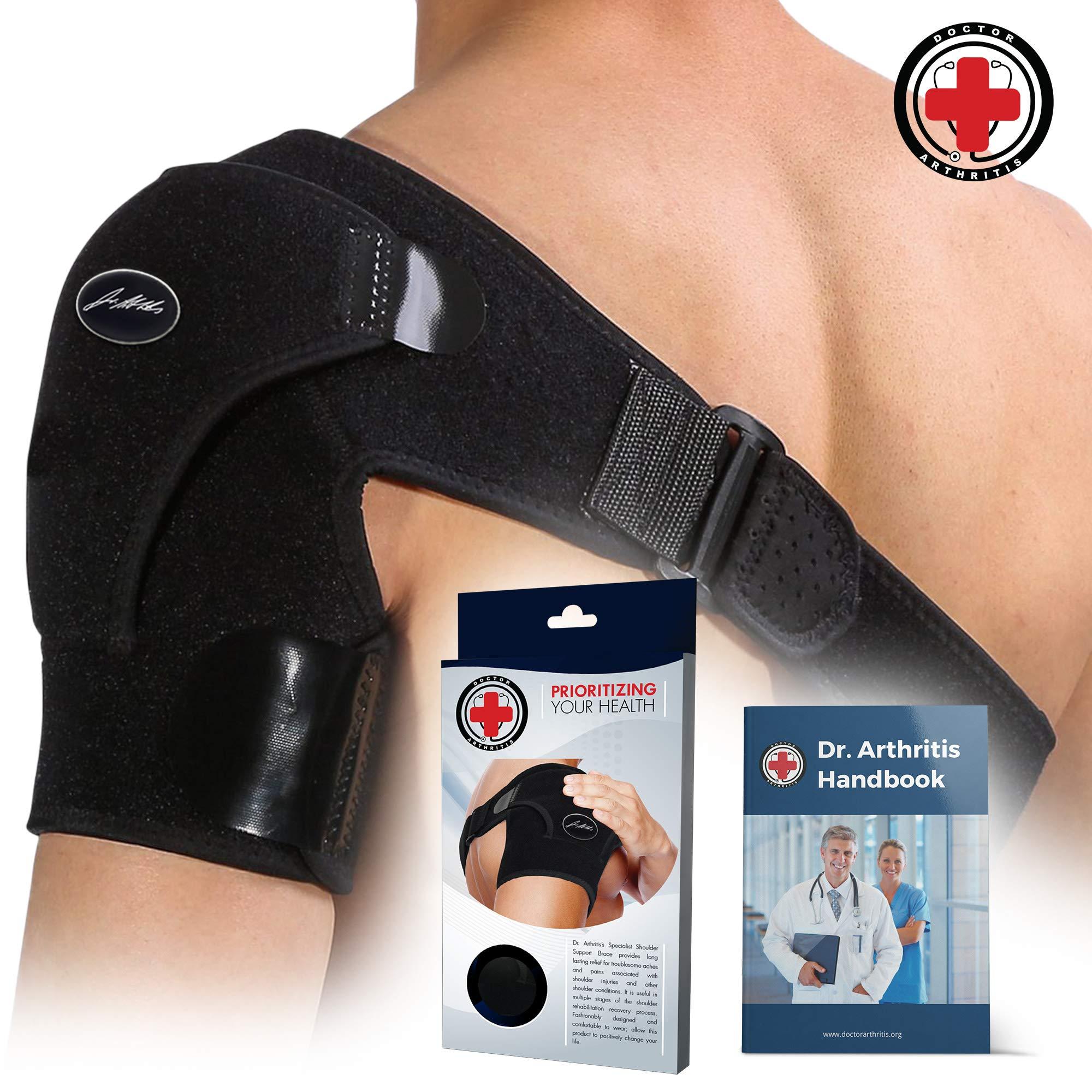 Doctor Developed Shoulder Support/Shoulder Strap/Shoulder Brace [Single] & Doctor Written Handbook - Relief for Shoulder Injuries, for Both Left & Right by Dr. Arthritis