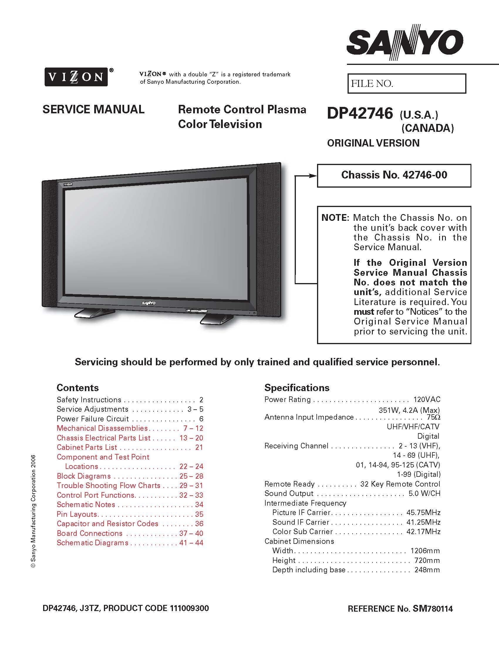 SANYO DP42746 service manual with schematics: SANYO: Amazon.com: Books
