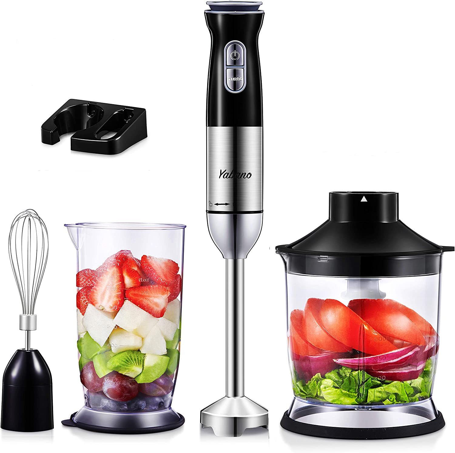 Hand Blender, 5 in 1 Immersion Blender, 12-Speed Stick Blender with 18oz Chopper, Egg Whisk, 24oz Beaker, Wall Mount, for Hot Soup Sauces Juices Smoothies Puree Food, BPA Free, Dishwasher Safe, by Yabano