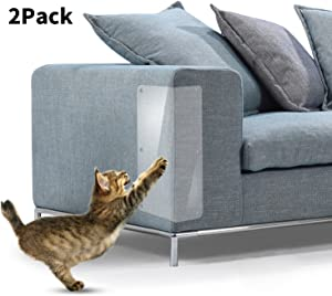 Cat Scratch Furniture, 2PCS Clear Premium Heavy Duty Flexible Vinyl Protector Dog Cat Claw Guards with Pins for Protecting Your Upholstered Furniture, Stops Scratching Cats Furniture Protector