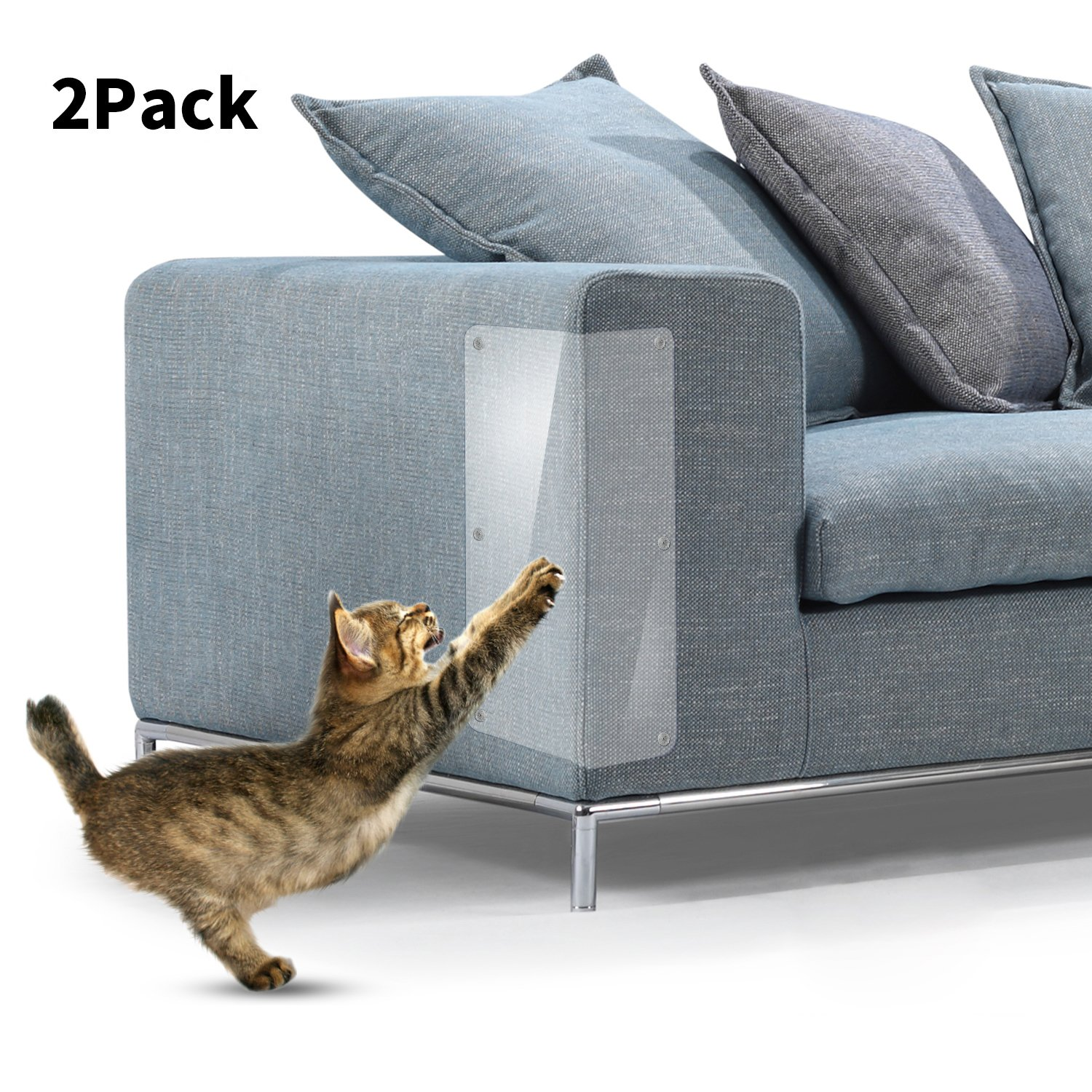IN HAND Cat Scratch Furniture, Clear Premium Heavy Duty Flexible Vinyl Protector Dog Cat Claw Guards with Pins for Protecting Your Upholstered Furniture, Stops Scratching Cats Furniture Protector, Set
