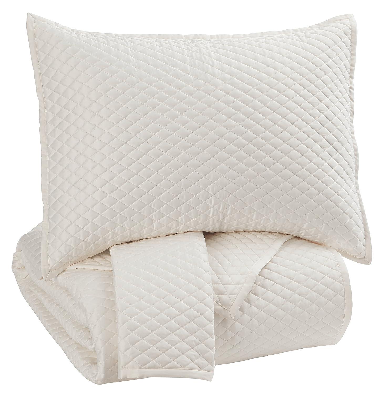 Ashley Furniture Signature Design - Dietrick Quilt Set - King - Contains 3 Pieces - Solid Color, Ivory