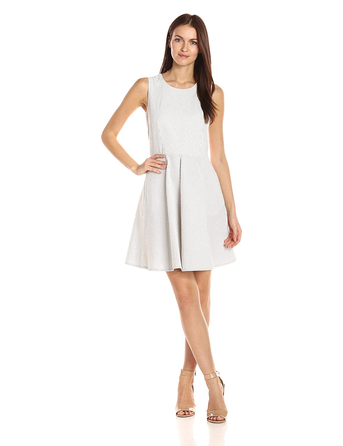 Seersucker day dress with crew neckline and fit and flare hem line A|X Armani Exchange Women' s Apparel 3YYA43YNN7Z