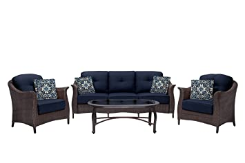 Hanover Outdoor Furniture Gramercy 4 Piece Wicker Patio Seating Set, Navy  Blue