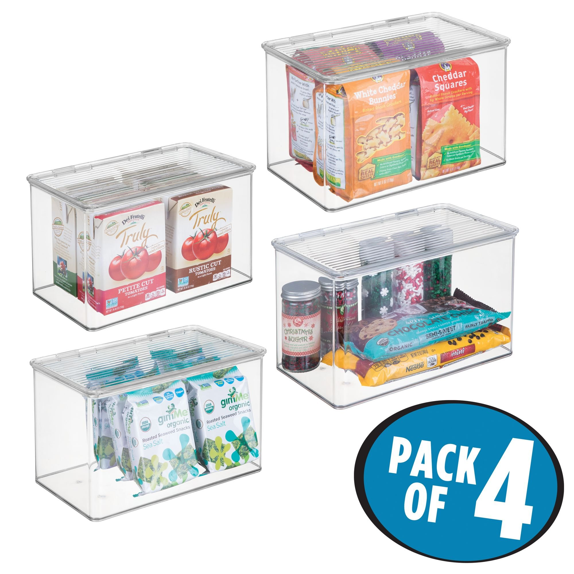 MDesign Stackable Plastic Food Storage Container Bin, Hinged Lid   For  Kitchen, Pantry, Cabinet, Fridge/Freezer   Deep ...
