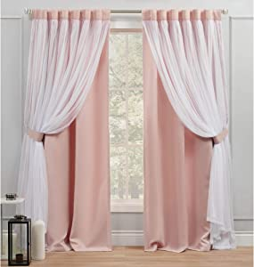 Exclusive Home Curtains Catarina Layered Solid Blackout and Sheer Hidden Tab Top Curtain Panels, 52x84, Rose Blush