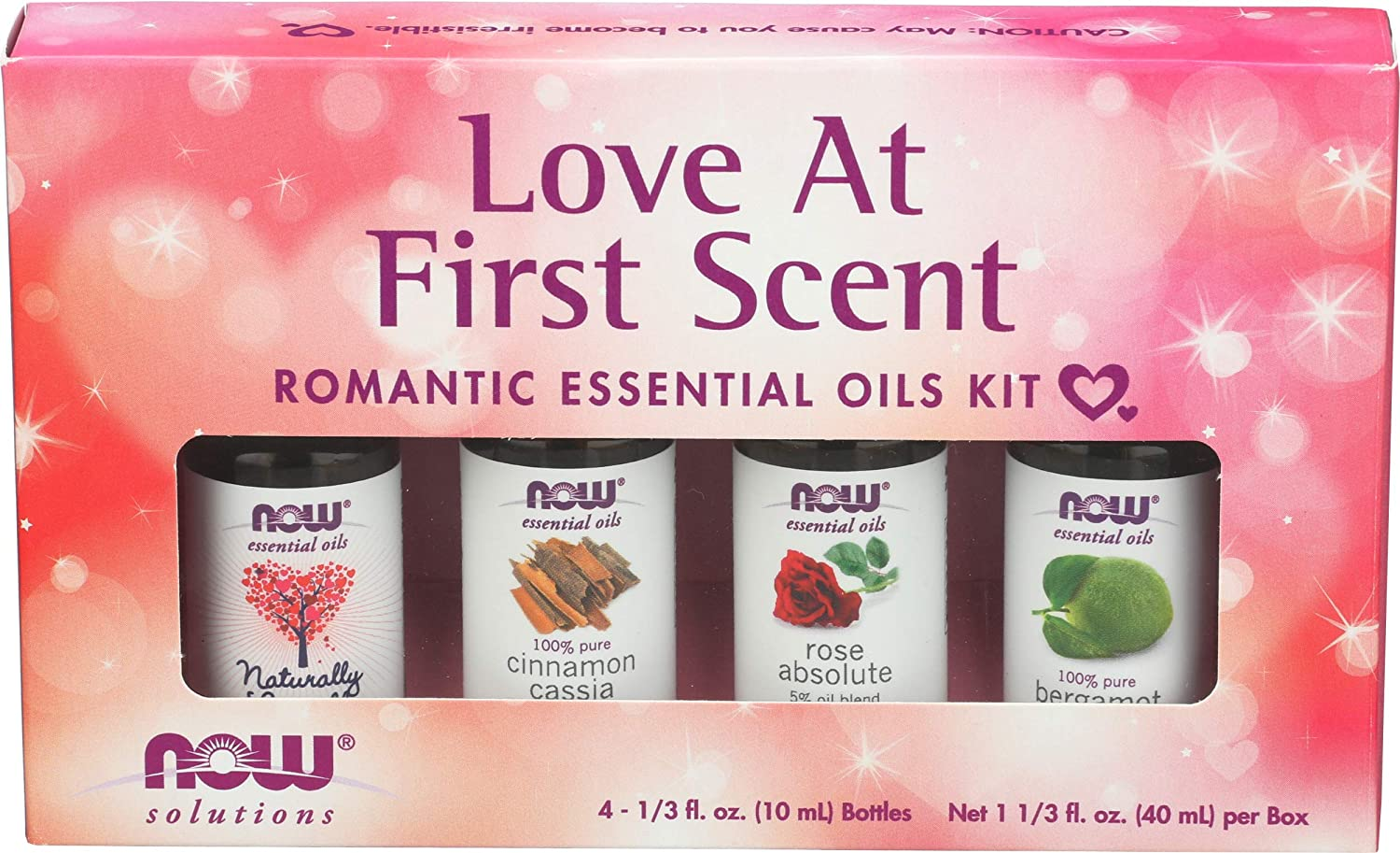 NOW Essential Oils, Love at First Scent Aromatherapy Kit, 4x10ml Including Bergamot, Cinnamon Cassia, Rose Absolute and our Naturally Loveable Essential Oil Blend With Child Resistant Caps